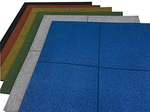 Losetas de caucho especial para gimnasios y parques infantiles, Suelos gimnasio medida de 100 x 100 x 4 cm (16 unidades (16m2), Verde)