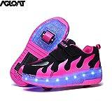 Garçons Filles Chaussures à roulettes 2 Roues Respirant Patins à roulettes pour Unisexe Enfants Retractable Basket A Roulette,Pink-39