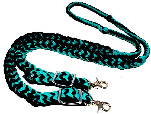 CHALLENGER Roping Knotted Horse Tack Western Barrel Reins Nylon Braided Emerald Green Black 60701