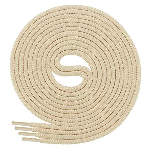 Di Ficchiano Schnürsenkel, Rundsenkel für Business- und Lederschuhe, reißfester Allroundsenkel, ø 3mm Farbe Hellbeige Länge 80cm