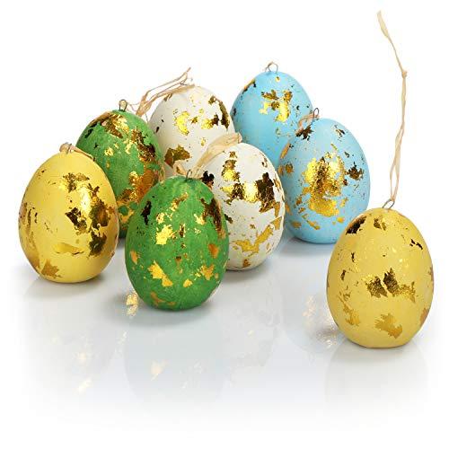 com-four® 8X Uova di Pasqua Colorate da Appendere - Decorazioni pasquali con Colori Fantastici - Uova di Pasqua Decorative in Ceramica