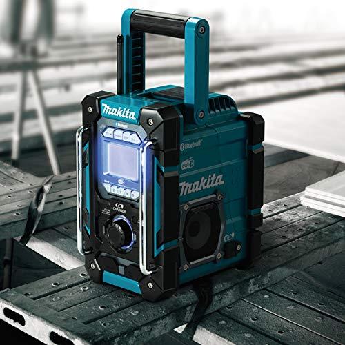 Makita DMR301 DMR301-Radio da Cantiere Robusta Ricarica per batterie scorrevoli agli ioni di Litio 12-14,4-18 V, Dab + AM/FM + Funzione Bluetooth
