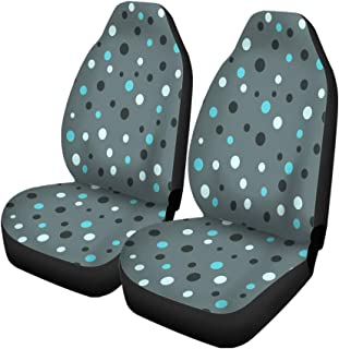 Semtomn Set of 2 Car Seat Covers Blue Abstract Polka Dot Pattern Pink Baby Cartoon Children Universal Auto Front Seats Protector Fits for Car,SUV Sedan,Truck