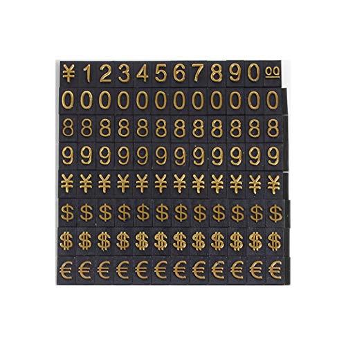 Kit de precio de número árabe, reloj/joyería dólar/euro precio etiqueta kit, base de la marca de aleación de aluminio de escritorio (2 juegos de números dorados (192 piezas pequeñas))