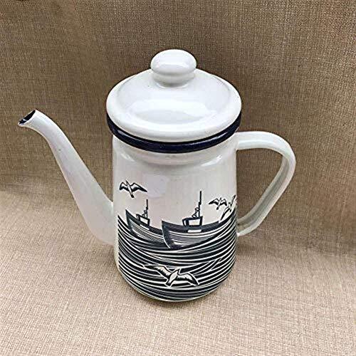 XHKFH Einfach einfach HZ-CHTea Töpfe Tee-Sets aus emailliertem Kessel Kessel Teekannen Mediterraner Stil 1.1L Emaille Kaffeekanne Teekanne Blume Teekanne Öltopf (Color : Seagull)