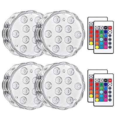 Criacr Submersible Lights, 10 LED Hot Tub Lights with Remote Control, Waterproof Multicolor RGB Underwater Light for Garden, Aquarium, Swimming Pool, Fish Tank, Vase Base, Home Decor (4 Packs)