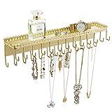 MyGift 26-Hook Gold-Tone Wall-Mounted Metal Jewelry Organizer with Display Shelf