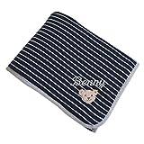Steiff Babydecke mit Ihrem Wunsch-Namen bestickt marineblau mit feinen weißen Streifen 90 cm x 60 cm personalisierte Namensdecke