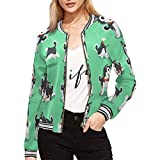 INTERESTPRINT Women's Cartoon Character Siberian Husky Dog Jacket Zipper Coat Outwear XS