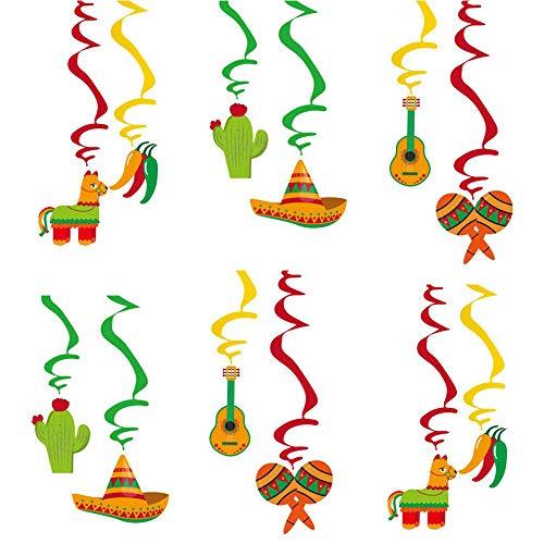 24 Piezas Decoraciones Fiesta Cumpleaños, Decoración Fiesta Mexicana, PVC + Papel Fiesta Mexicana Colgante Remolino para Cumpleaños, Boda, Graduación, Decoración Fiesta Temática Cinco De Mayo