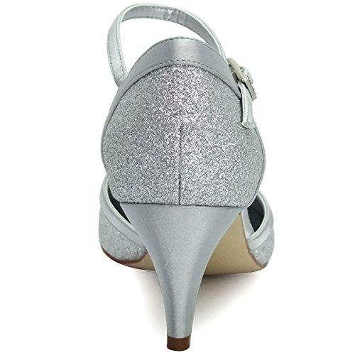 ElegantPark HC1510 Runde Zehen Hoch Absatz Schnalle Pumps Glitter PU Silber Party Tanzschuhe Damen Brautschuhe Gr.41 - 3