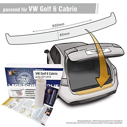 Lackschutzshop - Passform Lackschutzfolie kompatibel mit Ladekantenschutz passend VW Golf 6 Cabrio - transparent 150µm