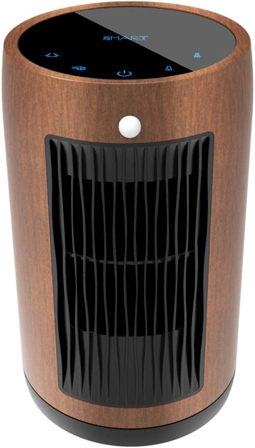 Electric Space Heater 1500W Portable Smart control,Touch panel, PIR Motion Sensor, Function 3 Modes with Overheat & Tip-over Shut off (Walnut color)