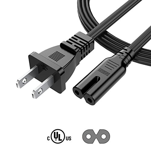 Garyway 6Ft 2 Slot 18AWG AC Wall Power Cord Cable for PS4 PS3 Slim, Xbox One S/Xbox One X [UL Listed]