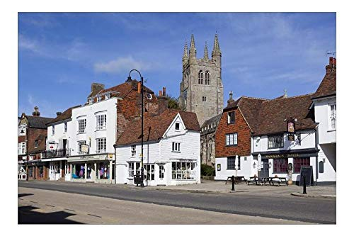 robertharding 12x8 Print of View of church and Woolpack Hotel, High Street, Tenterden, Kent, England (9087117)