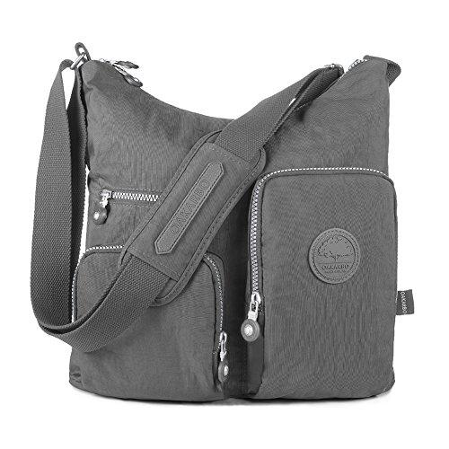 Oakarbo Crossbody Bag Nylon Multi-Pocket Travel Shoulder Bag (1204 Black, Large)