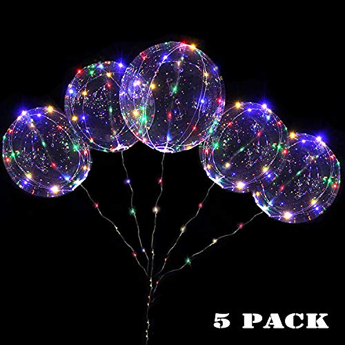 18 Inch 5 PCS Led Light Up BoBo Balloon Colorful/ Warm White Lights, Fillable Light up Balloons with Helium, Great for Christmas Party, House Decorations,Amazing Party Decoration (Colorful)