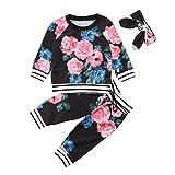 Kobay Babykleidung Mädchen Winter Neugeborenes Baby Mädchen Blumenkleidung Tops T Shirt T-Shirt Outfits Set(6-12M,Schwarz)