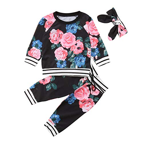 Kobay Babykleidung Mädchen Winter Neugeborenes Baby Mädchen Blumenkleidung Tops T Shirt T-Shirt Outfits Set(18-24M,Schwarz)