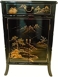 Oriental Shoe Cabinet Carved Bamboo Style (Landscape)