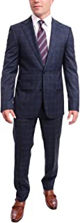 Napoli Slim Fit Blue Plaid Half Canvassed Super 120s Guabello Wool Suit