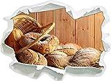 Pain Bun Petit déjeuner Boulangerie, Papier 3D Sticker Mural Taille: 92x67 cm...