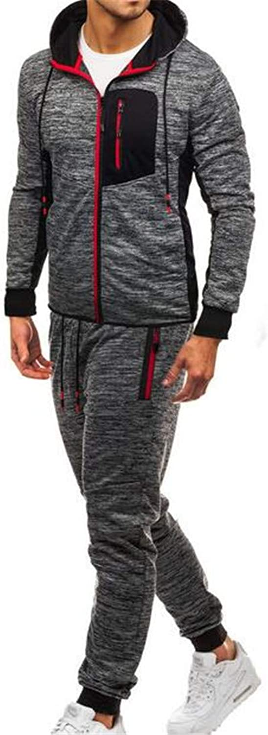 FRPE Men Sweatpants Hooded Sweat Shirt 2 Piece Athletic Track Suit Set