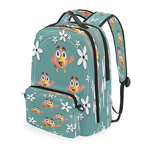 Flower Cute Bird Bookbag Daybacks Student Backpack for Travel Teen Girls Boys Kids
