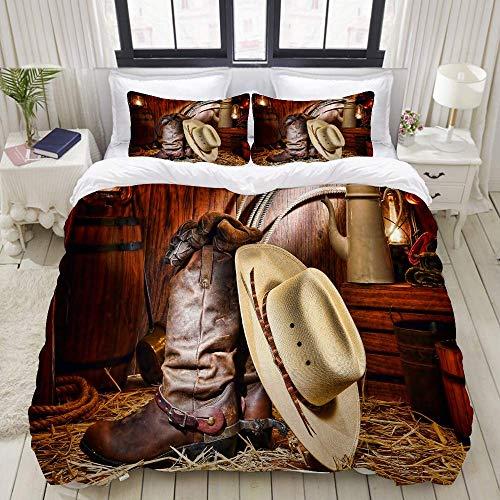 Funda nórdica, sombrero de paja blanco tradicional de vaquero de rodeo americano del oeste en botas de cuero Rancher Roper, juegos de cama decorativos de 3 piezas con 1 funda de edredón y 2 fundas de
