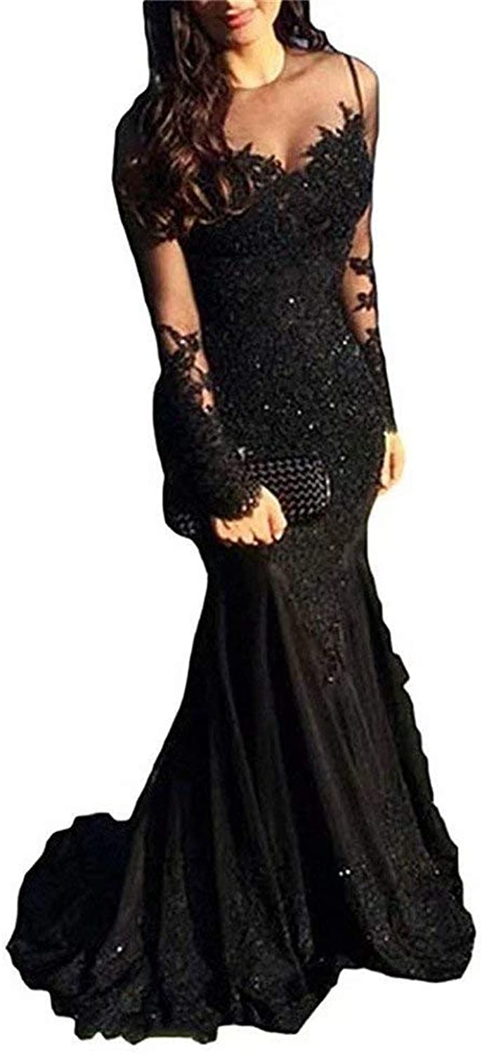 EEFZL Women's Mermaid Lace Appliques Prom Dresses Long Sleeves Mother Dresses Formal Evening Gowns