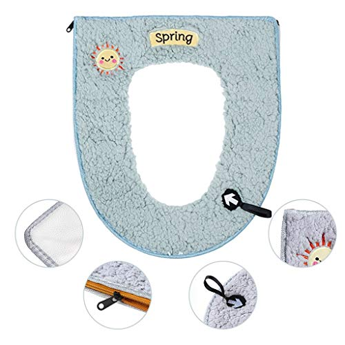 Monoche Winter Plush Toilet Seat Warm Comfortable Adhesive Pad Best Choice for Barthroom Toilet Zipper with Handle (Green)
