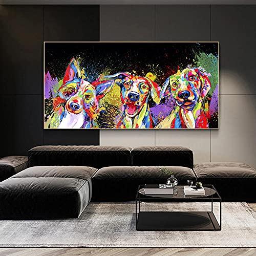 MYBHGRFDG Color Graffiti Animal Perro Elefante Mural Poster Home Interior Space Habitación de los niños Dormitorio Decoración de la Pared Arte de la Lona | 60x120cm Sin Marco