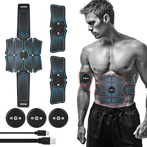 Lixada EMS Muskelstimulator Elektrisch Bauchmuskeltrainer Muskelstimulation USB Wiederaufladbare Trainingsgerät für Herren Damen