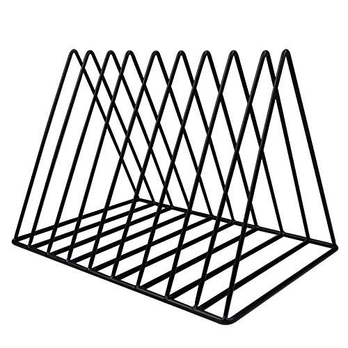 AvoDovA Revistero de Escritorio, 9 Ranura Escritorio de Triángulo Metal, Organizador de Archivos, Revisteros Decorativos para Revistas para Despacho Casa Biblioteca, Negro