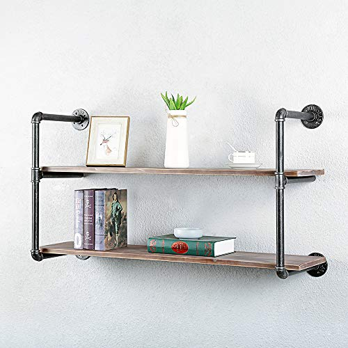 Industrial Pipe Shelving Metal Floating Shelves,Rustic Kitchen Wall Shelf Wood Hanging Shelf,42in Steampunk Large Pipe Shelves Wall Mounted,Bar Bookshelves Farmhouse Shelving Bookshelf (2 Tier)