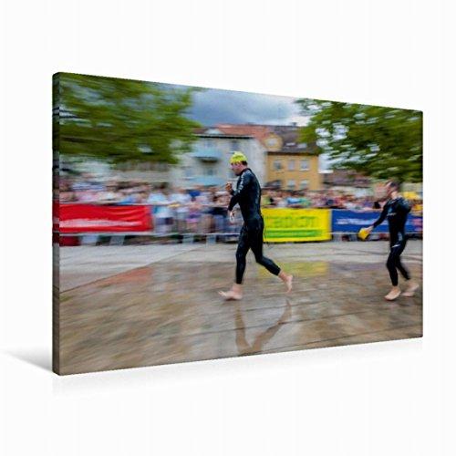 Calvendo Premium Textil-Leinwand 90 cm x 60 cm quer, EIN Motiv aus dem Kalender Passion Triathlon   Wandbild, Bild auf Keilrahmen, Fertigbild auf echter Leinwand, Leinwanddruck Sport Sport