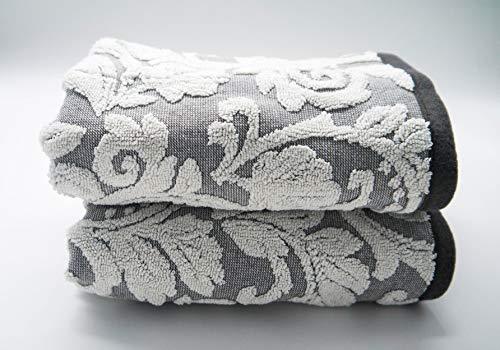 Lex's Linens - Juego de 2 toallas de mano (jacquard), diseño floral, color beige, Gris, Hand 50 x 90 cm