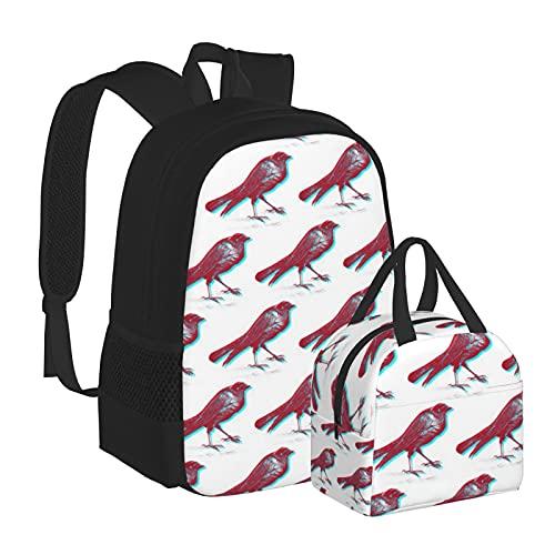 Stereo Birds - Mochila escolar con caja de almuerzo para adolescentes, niños, niñas, viajes, camping, juvenil, mochila