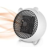 Space Heater, Fan Heater,Personal Mini Space Heater Portable Electric Heaters Fan with PTC Ceramic Heating Element & Overheat Protection for Office, Home, Tabletop Under Desk Floor Indoor Use (White)