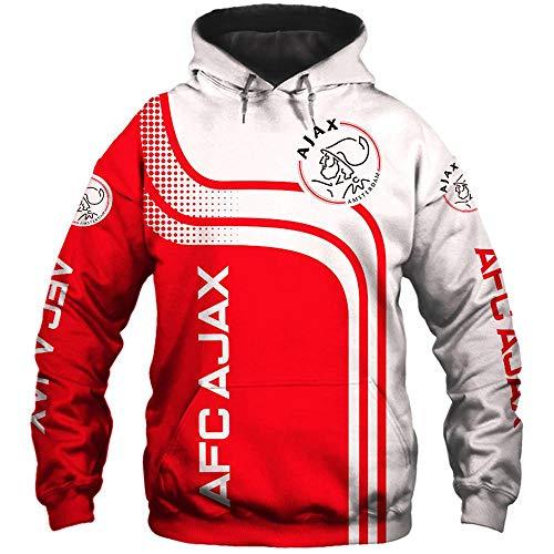 LIULL para Hombre con Capucha Suéter AJAX Fútbol 3D Béisbol Camiseta De La Impresión Digital Chaqueta Traje Deportivo A-XXXXXL