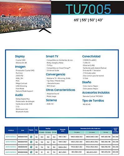 Samsung Crystal UHD - Smart TV, Resolución 4K, HDR 10+