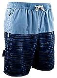 Guggen Mountain Pantalones Cortos De baño Y Playa para Hombres Pantalones Cortos De Traje Y Natación Bañador con Modelo Negro Azul Blau XXXL