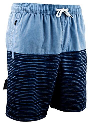 Guggen Mountain Pantalones Cortos De baño Y Playa para Hombres Pantalones Cortos De Traje Y Natación Bañador con Modelo Azul Negro Rayado