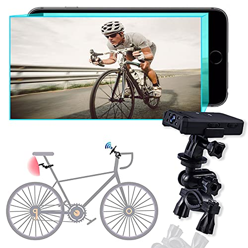GAOFG Bike Mirror, Smart Wi-Fi HD Rear View Camera Night Vision 180° adjustable lens 120° Wide View Angle, with Adjustable Bracket Compatible Bicycle Mountain Road Bike