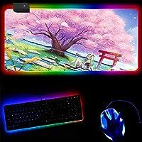 ゲーミングマウスパッド アニメの女の子桜RGBルミナスゲーミングマウスパッドカラフルな光るUSB有線LED拡張照明付きキーボード滑り止めマウスマット14ライトモード-40x90x0.4cm
