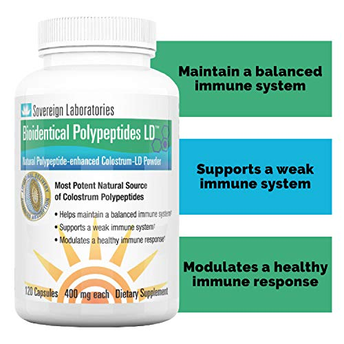 Immune System Booster BioIdentical Polypeptides-LD | Up to 40 Times More Immunity Boosting PRP Levels Than Our Proprietary Liposomal Colostrum - 120 Capsules - 2 Months Supply