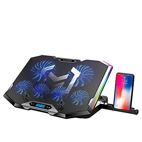 Refrigerador portátil + ventilador para portatil + Base de Refrigeración para Ordenador Portátil con retroiluminación RGB +11-18 Pulgadas Laptop Cooler Cooling Pad + 2 puertos USB + 6 ventiladores