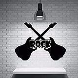 CHTHREEC Guitarra calcomanía de pared vinilo rock guitarra instrumento musical etiqueta de la pared estudio de música arte de la pared mural músico diseño decoración 76 cm x 57 cm