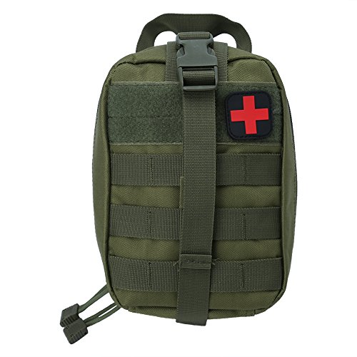 Bolsa de Primeros Auxilios, Bolsa de Supervivencia de Emergencia de Nylon Bolsa de Médica Táctica Botiquín de Primeros Auxilios reemplazo para Acampar Viaje al Aire Libre(Verde)