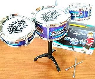 Mini Bateria Infantil Educativa Instrumento Música Jazz Drum Azul